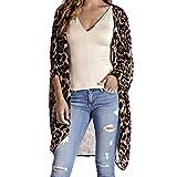 Lucky Mall Frauen Chiffon Leopard Print Cardigan, Halbe Hülsenmode Langer Mantel