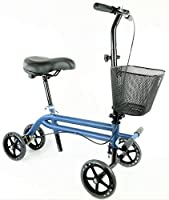 KneeRover Evolution Steerable Seated Scooter Mobility Knee Walker Turning Leg Walker Crutches Alternative in Blue CE Tested