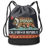 MLNHY Califonia Republic Riot Society Multifunctiona Drawstring Sport Backpack Foldable Sackpack