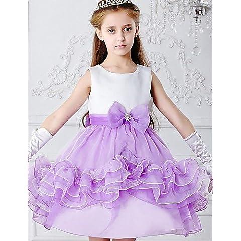 ZY/ Flower Girl Dress - Stile Principessa Lunghezza t¨¨ Senza Maniche Raso/Tulle , light sky blue , child-8