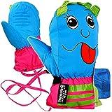 alles-meine.de GmbH Fausthandschuhe / Fäustlinge - mit langem Schaft + Klettverschluß - Größen: 1 bis 2 Jahre -  lustiges Gesicht - pink / blau  - LEICHT anzuziehen ! mit Daume..