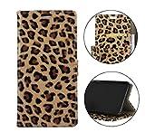 Sunrive Cover per LG Q7, Custodia con Supporto di Stand e in Pelle Artificiale per Carte di Credito Portafoglio Flip Chiusura Magnetica Protettiva(Leopardo)