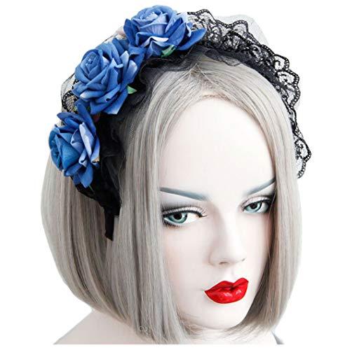 Cebilevin Rose Lace Maid breites Stirnband Cos Weihnachtstag