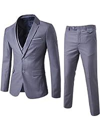c4ae48222bfa Allthemen Herren 3-Teilig Slim Fit Anzug Zwei Knöpfe Business Sakko  Hellgrau Small