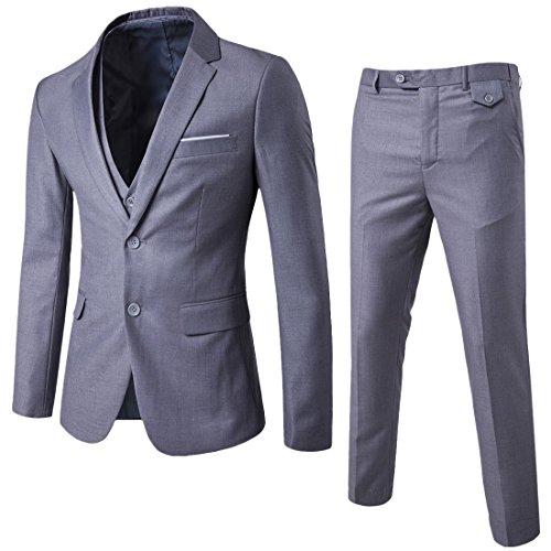 Herren 3-Teilig Slim Fit Anzug Zwei Knöpfe Business Sakko von Allthemen Hellgrau Medium