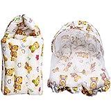 Litte Hug Baby Cotton Mattress With Mosquito Net Sleeping Bag Delux Combo(Orange)