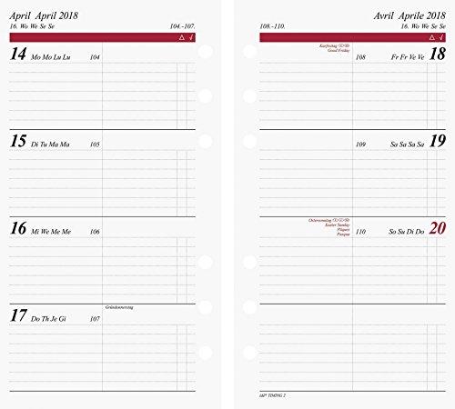 rido/idé 706691018 Zeitplansysteme/Ringbuchkalender/Timer Wochenkalendarium für Filius/Timing 2, 93 x 172 mm, 2 Seiten = 1 Woche, Kalendarium 2018
