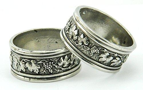 n-6-ronds-de-serviette-couleur-argent-en-tain-anneau-faits-la-main-en-italie-de-cavagnini
