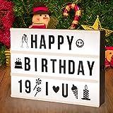 SUNNEST Caja de Luz A4 16 Colores con 295 Letras y Emojis Cartel Luminoso LED, Ideal para Decoración y Regalo para Niñas, Niños en Cumpleaños, Navidad
