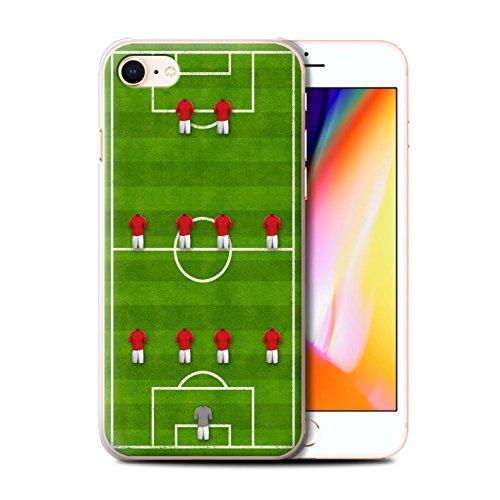 Stuff4 Hülle / Case für Apple iPhone 8 / 4-1-2-1-2/Blau Muster / Fußball Bildung Kollektion 4-4-2/Rot