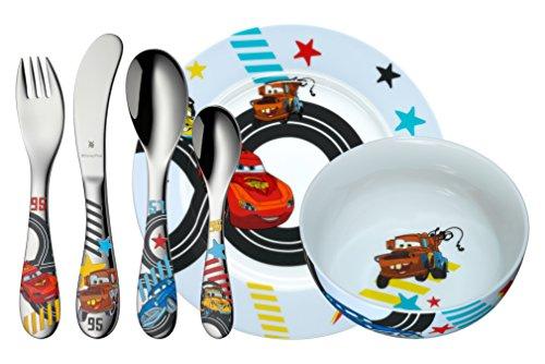WMF Disney Cars2 Kindergeschirr, mit Kinderbesteck, 6-teilig, ab 3 Jahren, Cromargan Edelstahl poliert, spülmaschinengeeignet, farb- und lebensmittelecht