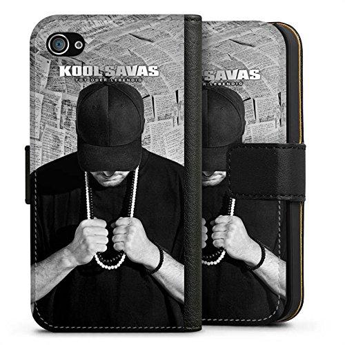 Apple iPhone 7 Hülle Case Handyhülle Kool Savas Fanartikel Merchandise Tot oder Lebendig - Album Artwork Sideflip Tasche schwarz