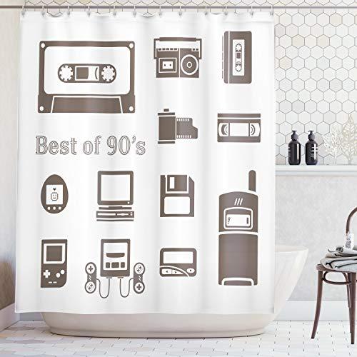 ng, Gadget der 90Er Jahre Icons Muster mit Desktop Computer Videospiel Joystick Nostalgie Thema, Blickdicht aus Stoff mit 12 Ringen Waschbar Langhaltig Hochwertig, 175 X 200 cm ()