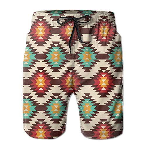 FGGY-BJ American Native Pattern Herren Quick Dry 3D gedruckte Badehose Boardshorts Casual Sommer Bademode Hosen (American-kleidung Native Männer Für)