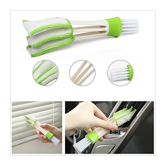 Getko With Device Double-Head Clean Brush Car Indoor Air-condition Outlet Window Care Cleaning Interior Seat Gap Car Dust Collector Cleaning Cloth Tool for Keyboard Window shutters