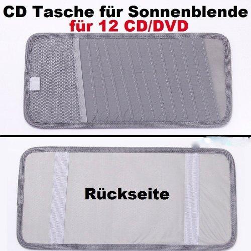 12 er CD DVD Tasche Aufbewahrung Auto Sonnenblende grau mit Tasche universal