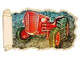 3D Wandtattoo Traktor Auto Fahrzeug Bauer Tapete Wand Aufkleber Wanddurchbruch Deko Wandbild Wandsticker 11N2223, Wandbild Größe F:ca. 162cmx97cm