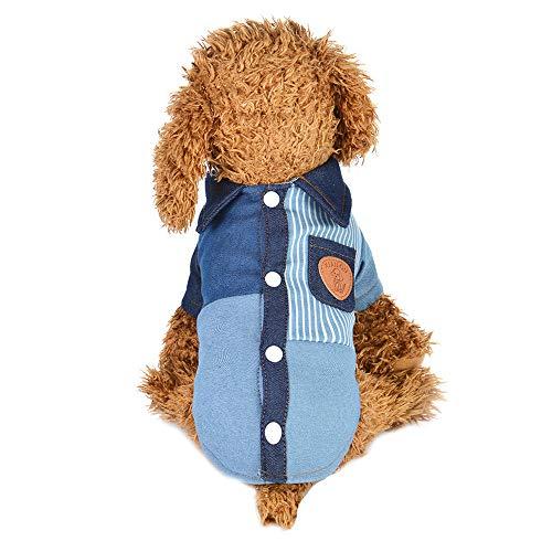 Hunde Kostüm 2 Bein - Fatchot Hundebekleidung für Katzen, Jeansstoff, Jeansjacke, mit Knöpfen, inkl. Plüsch-Mantel mit Zwei Beinen, Blau