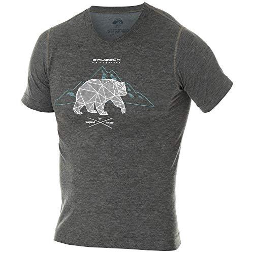 BRUBECK Wandershirt Herren atmungsaktiv I Funktionsshirt Sport | Outdoor Shirt für Männer | Short Sleeve Shirt Men | T-Shirt mit Bergmotiv I 27% Merino Wolle | SS12650, Gr. XL - Dunkelgrau -