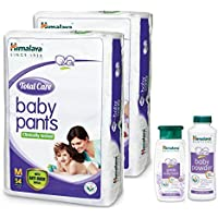 Himalaya Total Care Baby Pant Diapers Monthly Pack (Medium 108 Count) with Powder 100g, and Bath 100ml