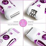 4 en 1 Meilleur appareil électrique pour les femmes : Râpe à pied/ Épilateur/ Rasoir/ Tondeuse + Set de Coupe-ongles – Morpilot Cadeau idéal de soins quotidiens pour tous les types de peau - 3