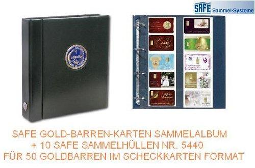 SAFE 481G GOLDBARREN-Karten PREMIUM SAMMELALBUM MIT FARBIGER 3D PLAKETTE AUF DEM COVER + 10 x SAFE 471 SAMMELHÜLLEN ERGÄNZUNGSBLÄTTER FÜR 50 x GOLDBARREN - KARTEN IM SCHECKKARTENFORMAT FEINGOLD GOLD BARREN --- Das wertbeständige Geschenk für die lebenslange Erinnerung an freudige Ereignise