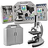 SOLOMARK Mikroskop Kit für Anfänger und Kinder - Zubehörset und Handy - Aufbewahrungskoffer, Mikroskop mit Metallarm und Sockel, Vergrößerungen von 300x bis 1200x - Mit Mikroskop Smartphone Adapter