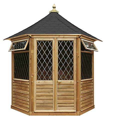 Maison d'été en Bois Hexagonal avec Porte Double et 2 Fenêtres à Petits Carreaux (h 295 x 240 x 208 cm)