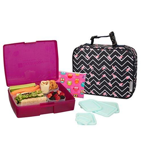 Bentology Bag in Box für Mädchen umfasst isolierte Hülse mit Griff, Bento Box, 5 Behälter und EIS Flamingo - Karte-laptop-hülse