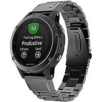 Goseth, cinturino di ricambio per smart watch Garmin Fenix 5, con maglie in acciaio inox, a rilascio rapido