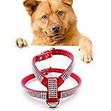 KANEED Hundehalsbänder, Geschirre, Strass PU Soft Breathable Hundegeschirr Haustier Weste Hund Brustgurt Leine Hundehalsband, Größe: XS (Schwarz) (Farbe : Red)