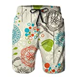 Jebnpse Gentleman Daily Beach Shorts Awesome Vector Birds and Sunflowers Board Shorts,Men's Beach Shorts Quick Dry Summer Surfing Trunks Surf Board Shorts Beach Pants with Pockets for Men XX-Large