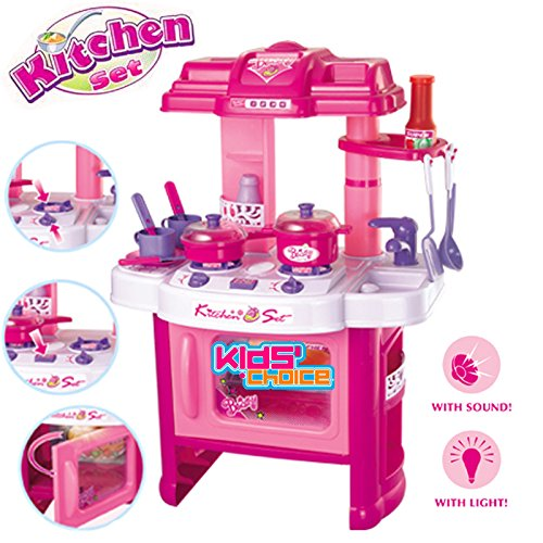 Kids Choice Multi Skill Kitchen Play Set Toy With Inbuilt Music And Lights, Pink (Large)