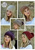 King Cole Ladies Chunky Knitting Pattern Womens Hats - Slouchy Rib or Cable Hat & Beret (4864)