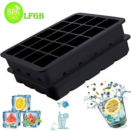 Eiswürfelformen,Yegu 2er Pack Silikon Eiswürfelform-2.5cm Würfel Eiswürfel,Eiswürfelbereiter, Eiswürfelbehälter zum Einfrieren von Wasser, Lebensmitteln oder Babynahrung, 2x20 Schale BPA FREI