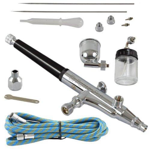 Agora-Tec AT- Airbrush Pistole Kit AT-AK-02 mit 1,8 m Schlauch und 3 verschiedenen Düsen und Nadeln (0,2 mm 0,3mm 0,5 mm)
