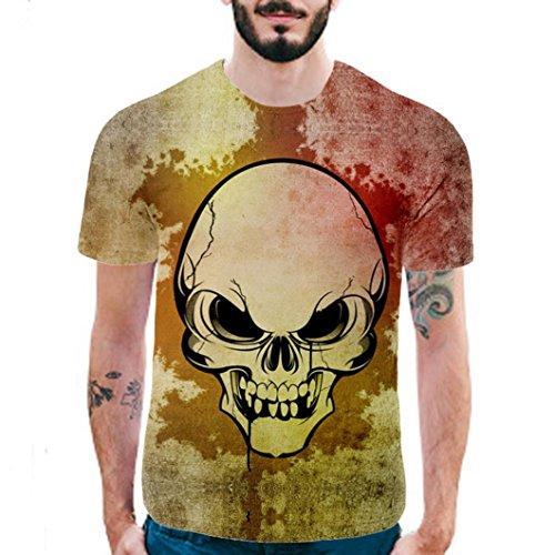 Huihong 2018 Neue Mode  Herren  T Shirt Katze 3D Druck T Shirt Kurzarm Bluse Tops Shirt (Gelb, M) (Ändern Gelben T-shirt)