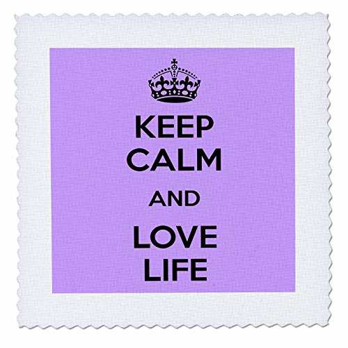 3dRose Keep Calm and Love Life. Lila, Quilt, Platz, 10 von 25,4 cm (QS 194308 _ 1)