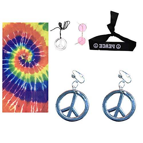 hippie-Kostüm-Set, 6-teilig Damen,Herren, Kinder, Haarband,Kopftuch,Regenbogen-Schild, Halskette und Ohrringe,Hippie-Sonnenbrille, Blumen-Haarband, 60er oder 70er Jahre Hippie-Kleiderzubehör silber