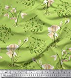 Soimoi Verde Georgette di Viscosa Tessuto Lascia & Calla Lily Fiore Tessuto Stampato 1 Metro 42 Pollici Larghi