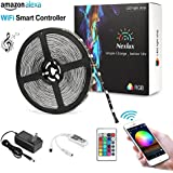 Led Light Strip, Non-waterproof Wifi Wireless Smart Phone Controlled Strip Light Kit 32.8ft 300leds 5050 Black PCB Non-Waterproof LED Lights ,Working With Android And IOS System,Alexa