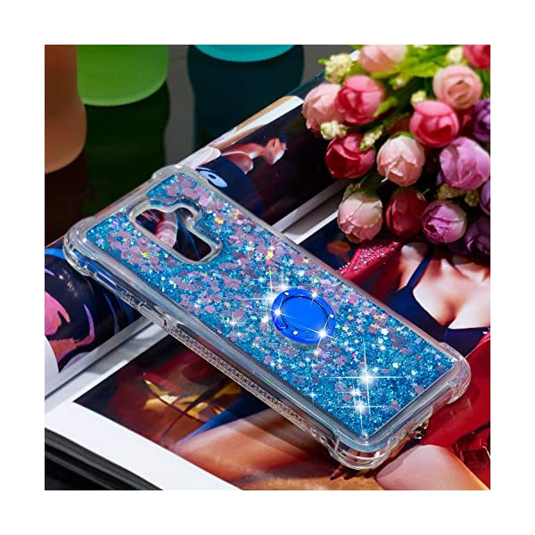 FAWUMAN Liquid Sparkly Quicksand TPU Gel Silicone Shockproof Phone Cover[Diamond Ring] Cases for Samsung Galaxy J8(2018) (Blue love) FAWUMAN 1.Compatible Model:Samsung Galaxy J8(2018), glitter liquid case specially for teenage, girls and women. 2.3D Quicksand creative cover, make your mobile phone Shiny Luxury Sparkle Glitter around.the inside quicksand flowing freely, make your mobile phone special and gorgeous, bring more fun to you. 3.Made of hight quality TPU: Scratch resistant and shock absorbent soft TPU covers all four corners offering all around shock absorbent drop protection keeping phone safe from dents, scratches, and other daily wear. 5