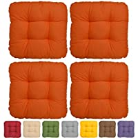 Set da 4 comodi cuscini Lisa 40x40x8 cm - ideali per sedie - arancione - imbottitura voluminosa e soffice - senza lacci
