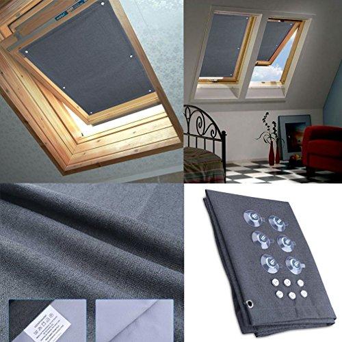 HDM Gris foncé fenêtre de toit Store enrouleur Store occultant thermique solaire & Brise-vue pour fenêtres,, balcon, compatible avec (MK06, M06) de toit Velux GGU GGL GPL GHL GHU GTU GPU GTL GXU GXL U08102C02104C04204F04306M06P06406067Y67606S06608S08087Y87808GGL GPL GGU GPU GHL, gris foncé, 60*93 CM