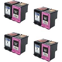 Prestige Cartridge HP 901X L–Juego de 8cartuchos de tinta compatible con Impresora HP Officejet 4500, J4500, J4524, J4535, J4540, J4550, J4580, J4585, J4600, J4624, J4660, J4680, J4680C, G510a, G510g, G510N, color negro/color