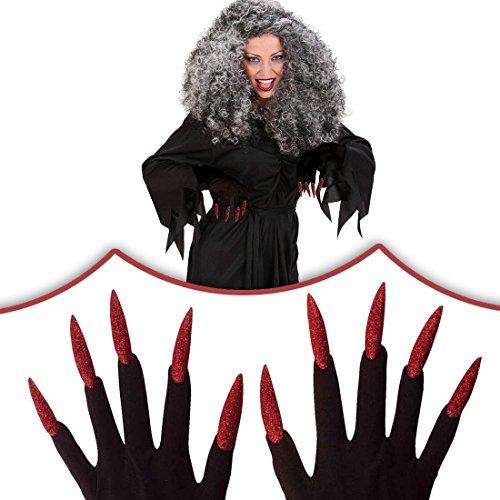 Handschuhe Kostüm Accessoires Hexe - NET TOYS Rote Halloween Hexen Handschuhe mit Nägeln Hexenhandschuhe Kostüm Accessoires Hexe Horrorhandschuhe Karneval