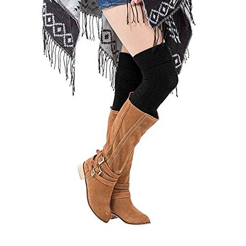 TinTop Donne Ginocchio Calzini + Gambe Scaldamuscoli , Donna Sopra i Calzini Lunghi Del Ginocchio Coscia Alta Pianura Stretch Cotone Calzini Overknee, Breve Inverno Uncinetto Calze Di Avvio (2 paia) Nero
