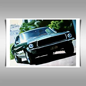 bullitt car chase 42x30 posterkunstdruck als leinwandkopie k che haushalt. Black Bedroom Furniture Sets. Home Design Ideas