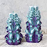 Dunkel lila Türkis geschnitzte Kerze Set mittlerer Größe - Geschenkide für Weihnachten, Geburtstag, Muttertag, Geburtstag oder Hochzeit Party Decor