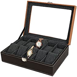 PU Leather 10-Slot Designer Window Watch Case Glass Display Top Organizer Box